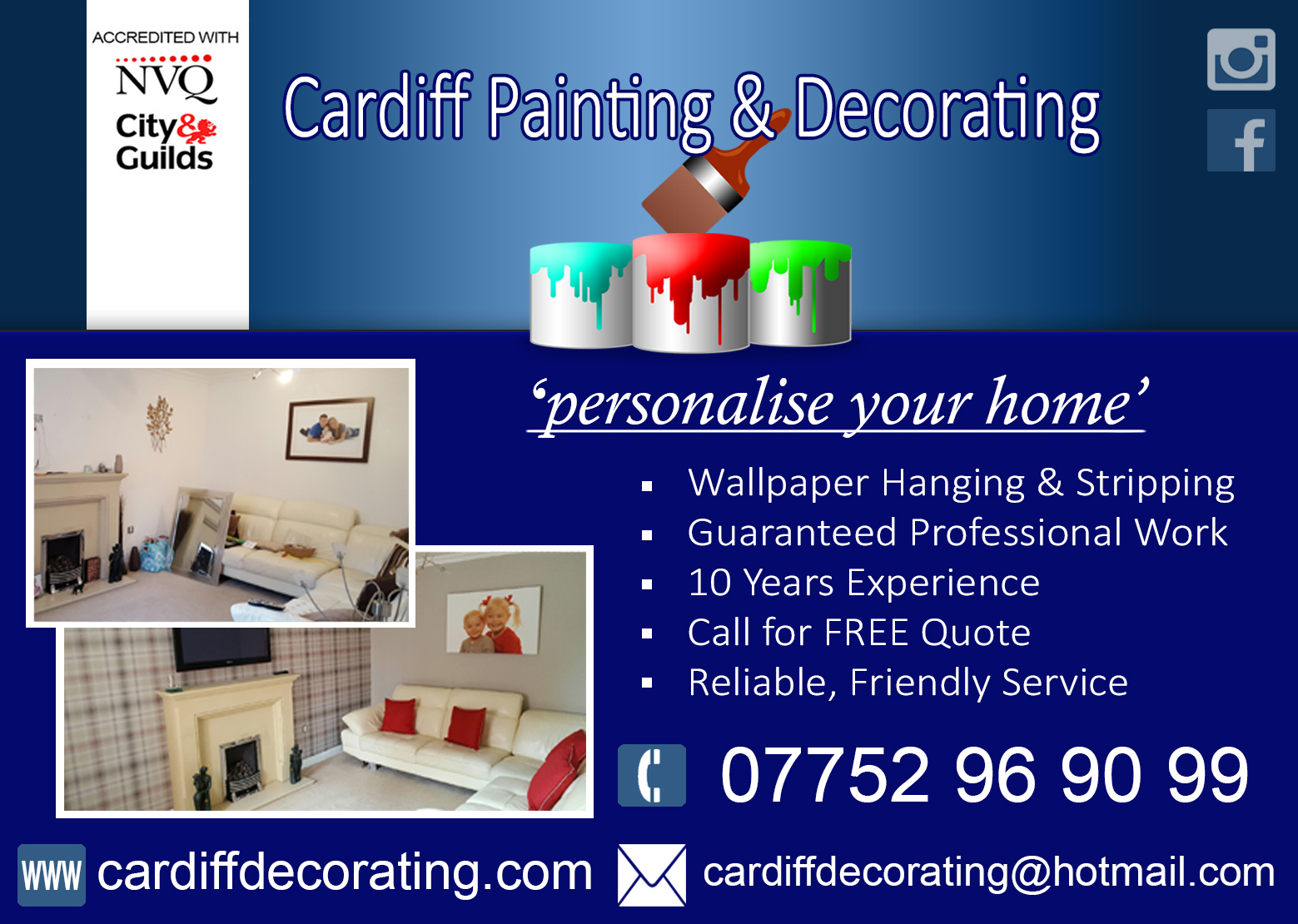 cardiff painting & decorating advert blurred faces