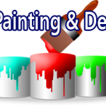 Paint brush dipping into paint tins the logo of cardiff painting and decorating