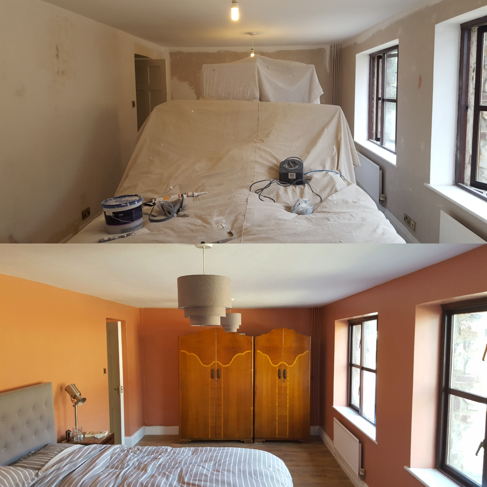 Decorated bedroom before and after - walls painted in dulux copper blush in castleton