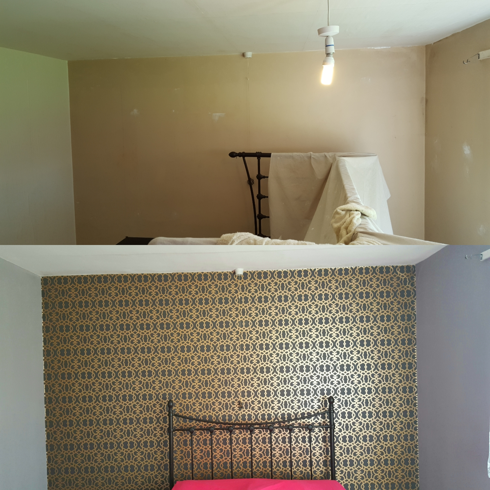 Feature Walls in bedroom and bathroom by Cardiff Painting & Decorating